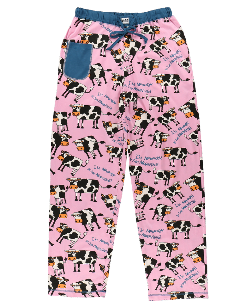 I'm Mooody In The Morning - Women's Cow PJ Trousers - Lazy One®